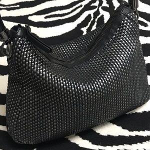 Cole Haan Woven Leather Metallic Weave Hobo Bag